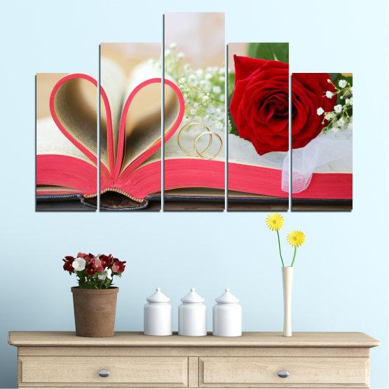 Декоративни панели и картини от канава - от 5 части №0386 » Розов, Сив, Бежов, Тъмно сив » Цветя, Роза, Сватба, Пръстен, Книга Form #5