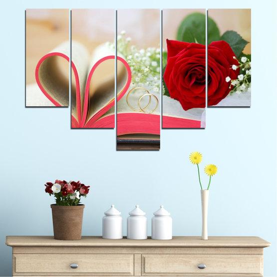 Декоративни панели и картини от канава - от 5 части №0386 » Розов, Сив, Бежов, Тъмно сив » Цветя, Роза, Сватба, Пръстен, Книга Form #6