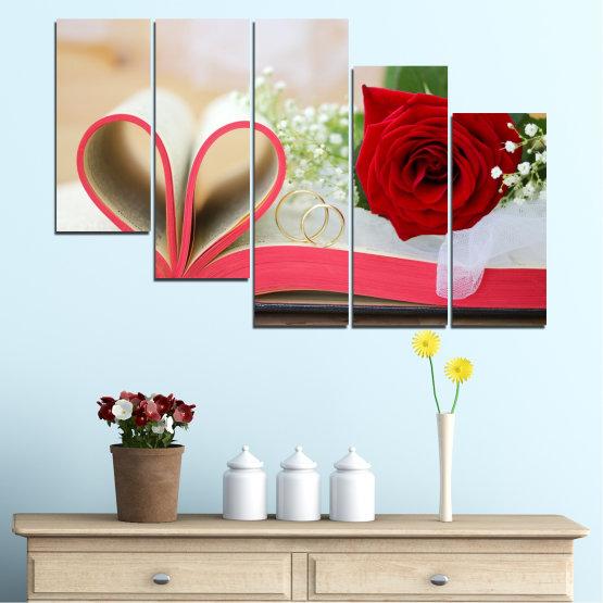 Декоративни панели и картини от канава - от 5 части №0386 » Розов, Сив, Бежов, Тъмно сив » Цветя, Роза, Сватба, Пръстен, Книга Form #7