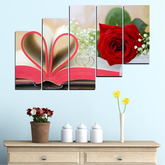 Декоративни панели и картини от канава - от 5 части №0386 » Розов, Сив, Бежов, Тъмно сив » Цветя, Роза, Сватба, Пръстен, Книга Form #8