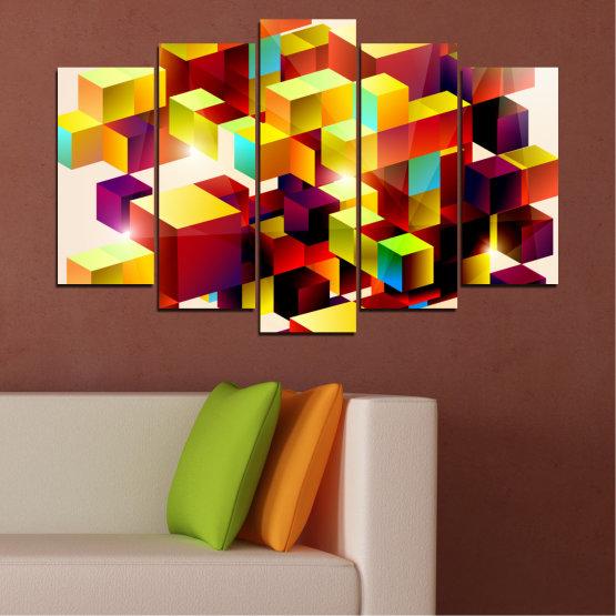 Декоративни панели и картини от канава - от 5 части №0387 » Червен, Жълт, Бял, Бежов » Абстракция, Цветен, Куб Form #1