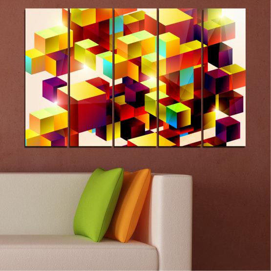 Декоративни панели и картини от канава - от 5 части №0387 » Червен, Жълт, Бял, Бежов » Абстракция, Цветен, Куб Form #2