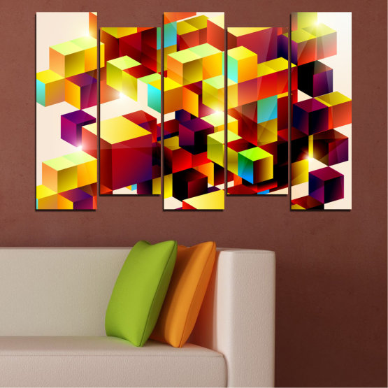 Canvas prints & wall decorative panels - 5 pieces №0387 » Red, Yellow, White, Beige » Abstraction, Colorful, Cube Form #3