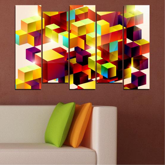 Декоративни панели и картини от канава - от 5 части №0387 » Червен, Жълт, Бял, Бежов » Абстракция, Цветен, Куб Form #3