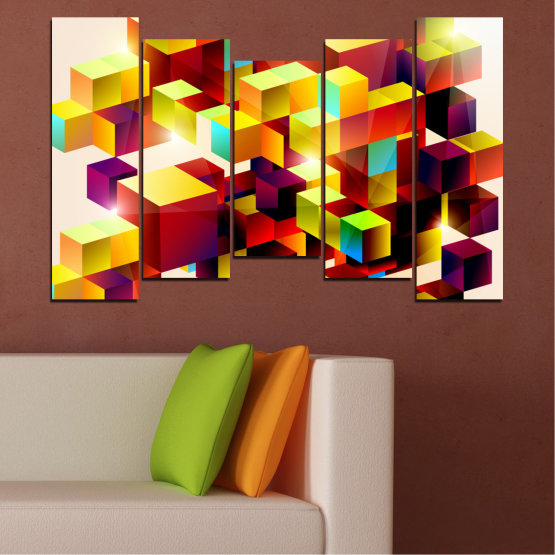 Canvas prints & wall decorative panels - 5 pieces №0387 » Red, Yellow, White, Beige » Abstraction, Colorful, Cube Form #4