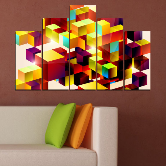 Canvas prints & wall decorative panels - 5 pieces №0387 » Red, Yellow, White, Beige » Abstraction, Colorful, Cube Form #5