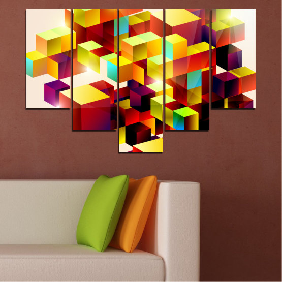 Canvas prints & wall decorative panels - 5 pieces №0387 » Red, Yellow, White, Beige » Abstraction, Colorful, Cube Form #6