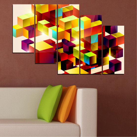 Canvas prints & wall decorative panels - 5 pieces №0387 » Red, Yellow, White, Beige » Abstraction, Colorful, Cube Form #7
