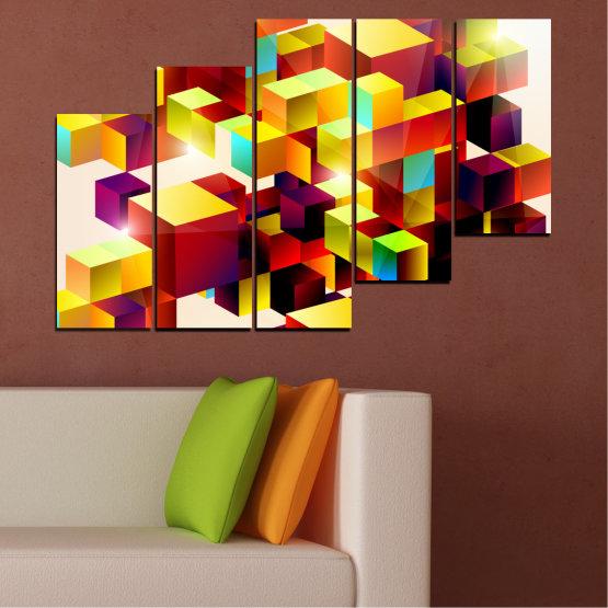 Декоративни панели и картини от канава - от 5 части №0387 » Червен, Жълт, Бял, Бежов » Абстракция, Цветен, Куб Form #8