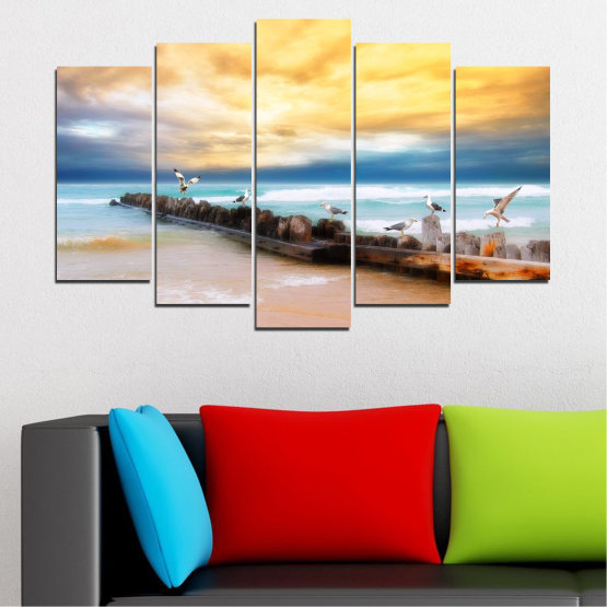 Canvas prints & wall decorative panels - 5 pieces №0388 » Yellow, Gray, Beige » Landscape, Sea, Water, Beach, Birds, Seaside, Rocks, Seagull Form #1