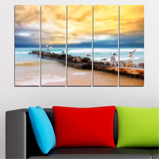 Canvas prints & wall decorative panels - 5 pieces №0388 » Yellow, Gray, Beige » Landscape, Sea, Water, Beach, Birds, Seaside, Rocks, Seagull Form #2