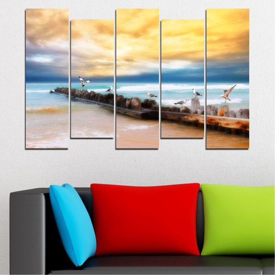 Canvas prints & wall decorative panels - 5 pieces №0388 » Yellow, Gray, Beige » Landscape, Sea, Water, Beach, Birds, Seaside, Rocks, Seagull Form #3