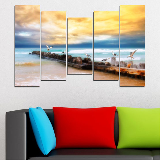 Canvas prints & wall decorative panels - 5 pieces №0388 » Yellow, Gray, Beige » Landscape, Sea, Water, Beach, Birds, Seaside, Rocks, Seagull Form #4