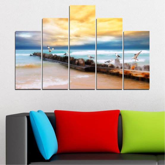 Canvas prints & wall decorative panels - 5 pieces №0388 » Yellow, Gray, Beige » Landscape, Sea, Water, Beach, Birds, Seaside, Rocks, Seagull Form #5