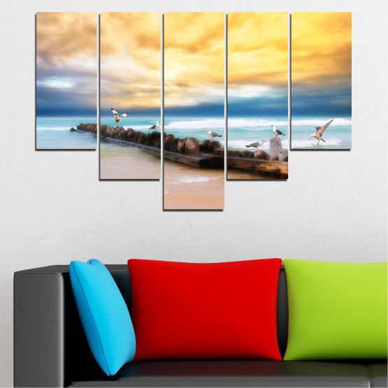 Canvas prints & wall decorative panels - 5 pieces №0388 » Yellow, Gray, Beige » Landscape, Sea, Water, Beach, Birds, Seaside, Rocks, Seagull Form #6