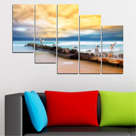 Canvas prints & wall decorative panels - 5 pieces №0388 » Yellow, Gray, Beige » Landscape, Sea, Water, Beach, Birds, Seaside, Rocks, Seagull Form #7