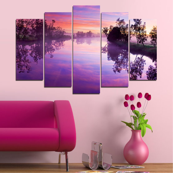 Canvas prints & wall decorative panels - 5 pieces №0389 » Purple, Gray, Milky pink, Dark grey » Nature, Landscape, Water, River Form #1