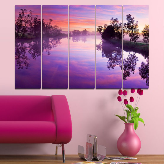 Canvas prints & wall decorative panels - 5 pieces №0389 » Purple, Gray, Milky pink, Dark grey » Nature, Landscape, Water, River Form #2
