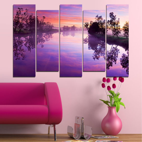 Canvas prints & wall decorative panels - 5 pieces №0389 » Purple, Gray, Milky pink, Dark grey » Nature, Landscape, Water, River Form #3