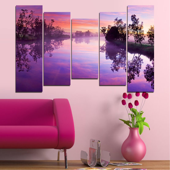 Canvas prints & wall decorative panels - 5 pieces №0389 » Purple, Gray, Milky pink, Dark grey » Nature, Landscape, Water, River Form #4