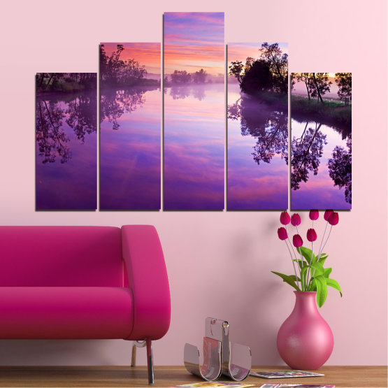 Canvas prints & wall decorative panels - 5 pieces №0389 » Purple, Gray, Milky pink, Dark grey » Nature, Landscape, Water, River Form #5