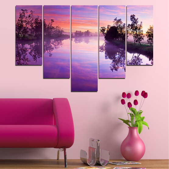 Canvas prints & wall decorative panels - 5 pieces №0389 » Purple, Gray, Milky pink, Dark grey » Nature, Landscape, Water, River Form #6