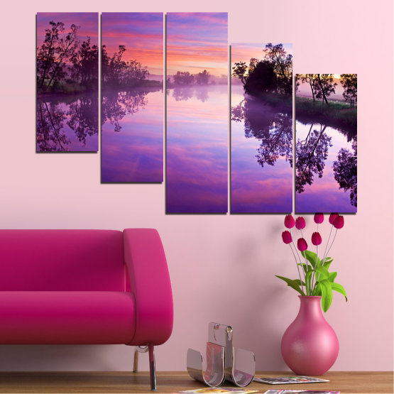 Canvas prints & wall decorative panels - 5 pieces №0389 » Purple, Gray, Milky pink, Dark grey » Nature, Landscape, Water, River Form #7