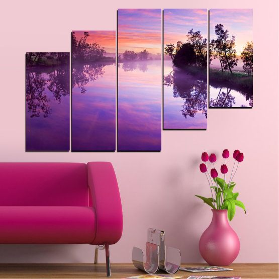 Canvas prints & wall decorative panels - 5 pieces №0389 » Purple, Gray, Milky pink, Dark grey » Nature, Landscape, Water, River Form #8