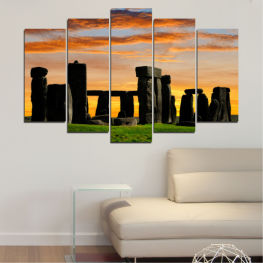 Landscape, Sunset, Landmark, Rocks, Stonehenge » Green, Orange, Brown, Black, Gray