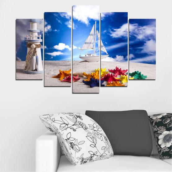 Декоративни панели и картини от канава - от 5 части №0390 » Син, Сив » Колаж, Кораб, Пясък Form #1