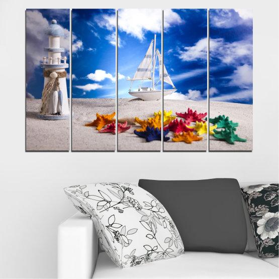 Декоративни панели и картини от канава - от 5 части №0390 » Син, Сив » Колаж, Кораб, Пясък Form #2