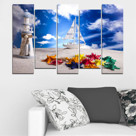 Canvas prints & wall decorative panels - 5 pieces №0390 » Blue, Gray » Collage, Ship, Sand Form #3