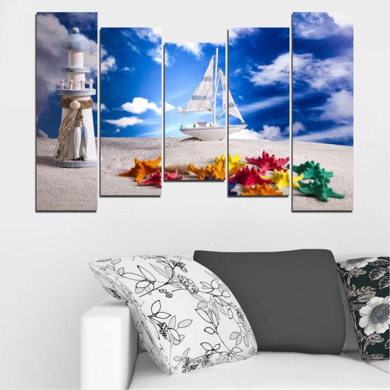 Декоративни панели и картини от канава - от 5 части №0390 » Син, Сив » Колаж, Кораб, Пясък Form #4