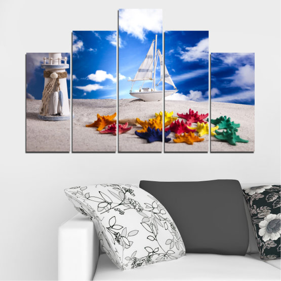 Canvas prints & wall decorative panels - 5 pieces №0390 » Blue, Gray » Collage, Ship, Sand Form #5