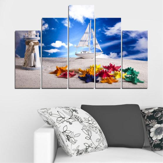 Декоративни панели и картини от канава - от 5 части №0390 » Син, Сив » Колаж, Кораб, Пясък Form #5