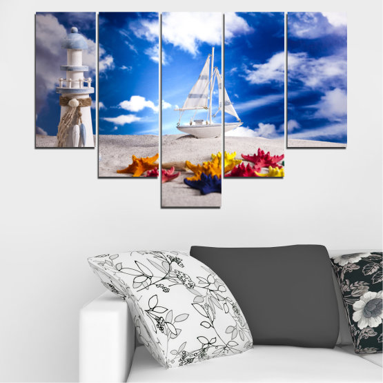 Canvas prints & wall decorative panels - 5 pieces №0390 » Blue, Gray » Collage, Ship, Sand Form #6