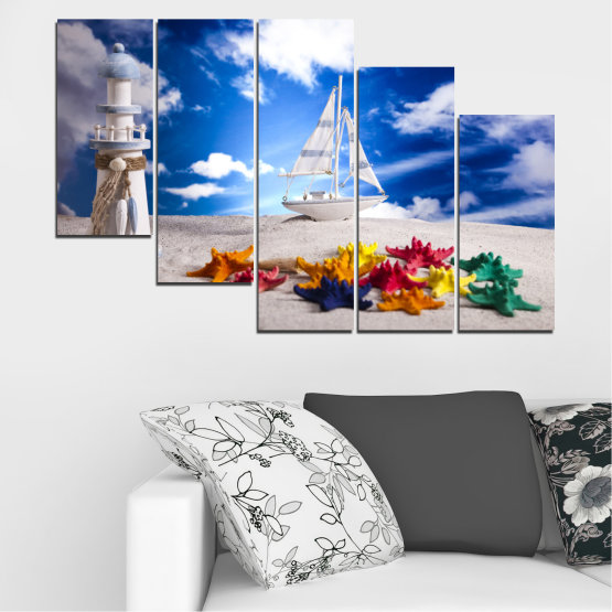 Canvas prints & wall decorative panels - 5 pieces №0390 » Blue, Gray » Collage, Ship, Sand Form #7
