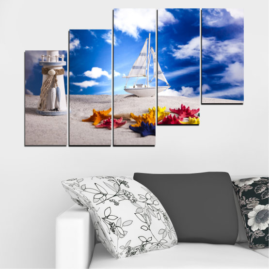 Canvas prints & wall decorative panels - 5 pieces №0390 » Blue, Gray » Collage, Ship, Sand Form #8