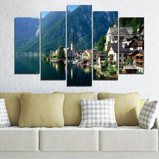 Canvas prints & wall decorative panels - 5 pieces №0391 » Blue, Turquoise, Black, Gray, Dark grey » Nature, Landscape, City, Water, Mountain, River, House, Austria Form #1