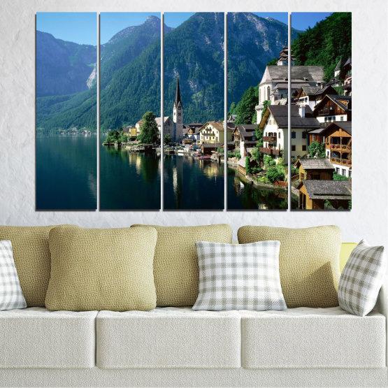 Canvas prints & wall decorative panels - 5 pieces №0391 » Blue, Turquoise, Black, Gray, Dark grey » Nature, Landscape, City, Water, Mountain, River, House, Austria Form #2
