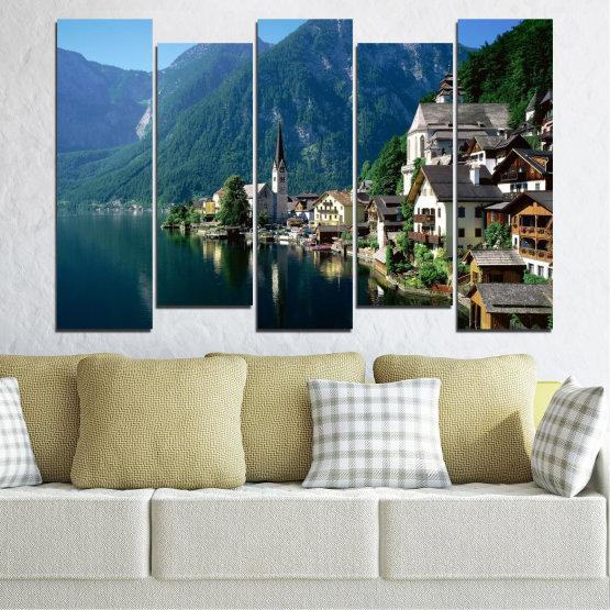 Canvas prints & wall decorative panels - 5 pieces №0391 » Blue, Turquoise, Black, Gray, Dark grey » Nature, Landscape, City, Water, Mountain, River, House, Austria Form #3