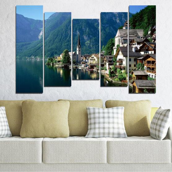 Canvas prints & wall decorative panels - 5 pieces №0391 » Blue, Turquoise, Black, Gray, Dark grey » Nature, Landscape, City, Water, Mountain, River, House, Austria Form #4