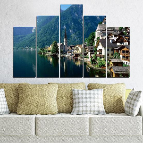 Canvas prints & wall decorative panels - 5 pieces №0391 » Blue, Turquoise, Black, Gray, Dark grey » Nature, Landscape, City, Water, Mountain, River, House, Austria Form #5