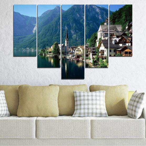 Canvas prints & wall decorative panels - 5 pieces №0391 » Blue, Turquoise, Black, Gray, Dark grey » Nature, Landscape, City, Water, Mountain, River, House, Austria Form #6