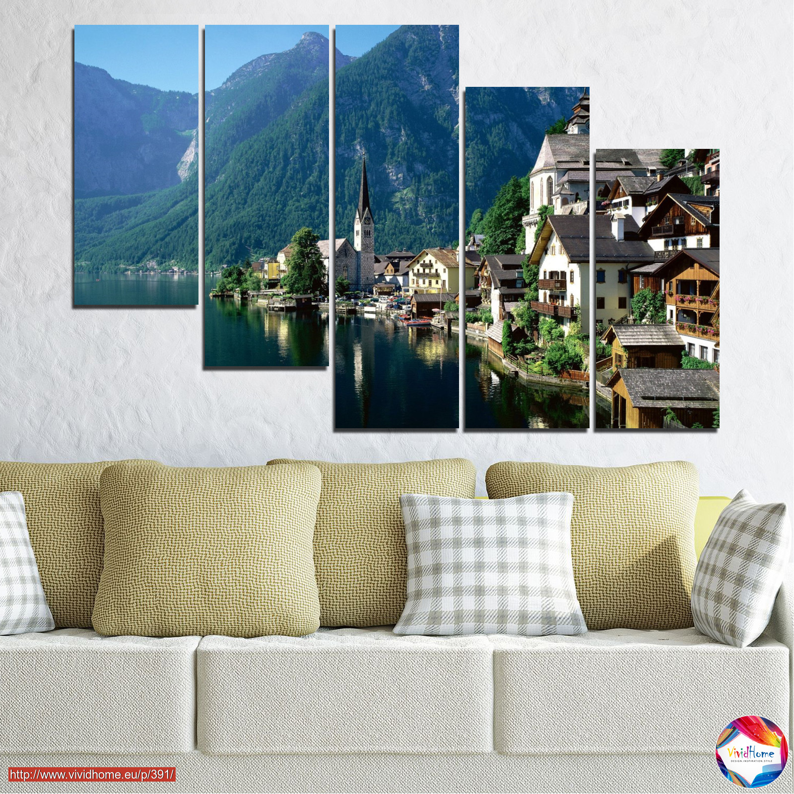 Nature, landscape, water, city, mountain, river, house, austria №0391