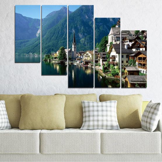 Canvas prints & wall decorative panels - 5 pieces №0391 » Blue, Turquoise, Black, Gray, Dark grey » Nature, Landscape, City, Water, Mountain, River, House, Austria Form #7