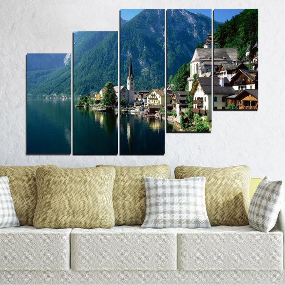 Canvas prints & wall decorative panels - 5 pieces №0391 » Blue, Turquoise, Black, Gray, Dark grey » Nature, Landscape, City, Water, Mountain, River, House, Austria Form #8