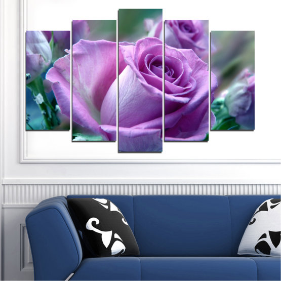 Canvas prints & wall decorative panels - 5 pieces №0392 » Purple, Gray, Dark grey » Flowers, Rose, Bouquet Form #1