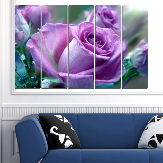 Canvas prints & wall decorative panels - 5 pieces №0392 » Purple, Gray, Dark grey » Flowers, Rose, Bouquet Form #2