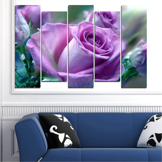 Canvas prints & wall decorative panels - 5 pieces №0392 » Purple, Gray, Dark grey » Flowers, Rose, Bouquet Form #3